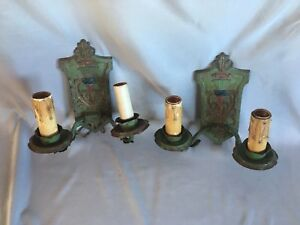 Pair Antique Sconce Wall Light Cast Iron Vtg Shabby Floral Chic Two Arm 335 17j