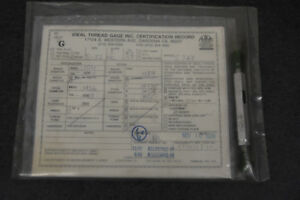 8 32 Thread Gage With Certification In Sealed Plastic