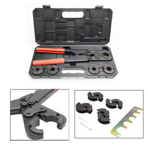 16 Portable Manual Pex Pipe Crimping Hand Tool Kit 5 Jaws Plastic Case New