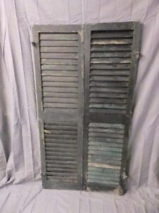 Pair Vtg House Window Wood Louvered Shutters Shabby Old Chic 58x16 639 17p