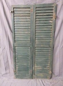 Pair Vintage House Window Wood Louvered Shutters Shabby Old Chic 58x16 650 17p