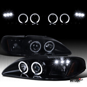 For 1994 1998 Ford Mustang Cobra Halo Led Full Black Smoke Projector Headlights
