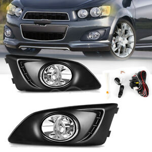 For 2012 2016 Chevy Sonic Aveo Clear Bumper Fog Light Lamps Switch Wiring Pair