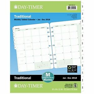 Day Timer Refill Monthly Weekly Planner Calendar For 2018 New Free Shipping