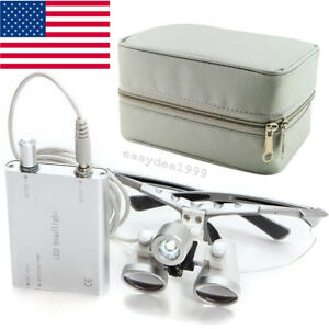Dental Surgical Binocular Loupes 2 5x 420mm Led Head Light Lamp Cloth Carry Case
