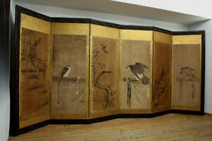 Japanese 15th C Hand Painted Folding Screen With 6 Panels By Fujiwara Masayoshi