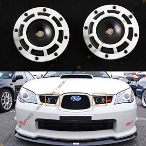 White 12v Electric Compact Blast Loud Hi Low Grill Mount Horn For Subaru