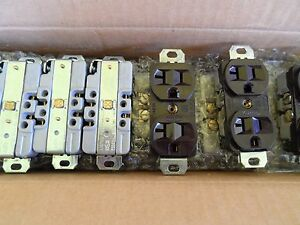 10x Nos Hubbell Brown 20a 125v Receptacle Outlet Set Of 10