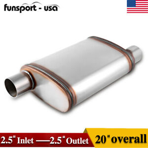 2pcs 2 5 Center Inlet outlet Universal Race Mufflers Single Chamber Performance