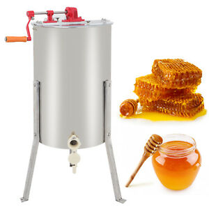 Stainless Steel Large 2 Frame Honey Extractor Manual Beekeeping Equipment New