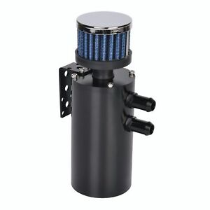 Universal Billet Aluminum Baffled Oil Catch Can Breather Tank W Filter Black
