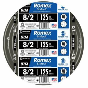 Southwire 8 2 Non Metallic Wire Romex Simpull 125 Ft By Roll Copper Black New