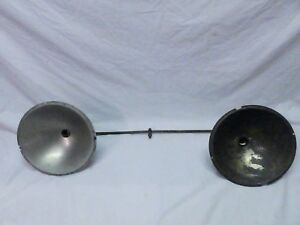Early Antique Industrial Double Lamp Shade Lights Working Old Vtg Gas 696 17p