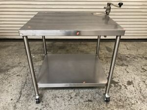 37 X 30 Stainless Steel Work Table W Bottom Shelf And Wheels 7609 Commercial
