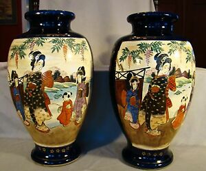 Pair Of Large Satsuma Figural Baluster Vases 19th C 15 H