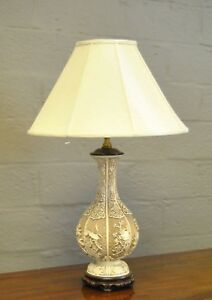 Asian Style High Releif Carved White Cinnabar Table Lamp