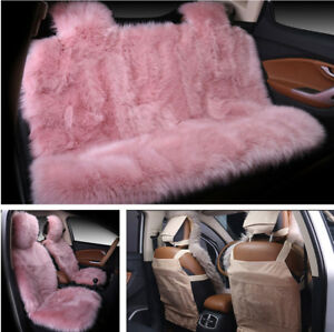 Set Cute Pink Long Plush 5 seat Auto Car Seat Cover Pad Cushion Protector Winter