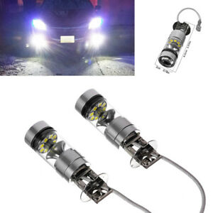 2pcs H3 Led Fog Light 100w Super Bright Cree Chips Car Driving Bulb White 12 24v