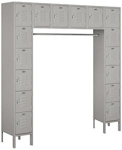 Salsbury Metal Locker Six Tier Box Style Bridge 16 Box 18 Deep Gray 66016gy u