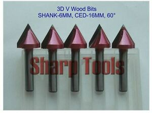 5pcs set 6x16mm 60 Degree V shape Groove 3d Bits Cnc Wood Cutter Cnc Router Bit