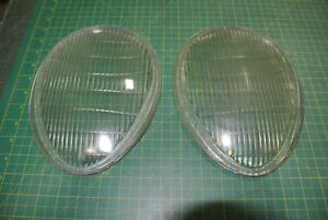 Pair Of Vintage Glass Headlight Lens Covers Teardrop H 112 Lx whse2 29a2