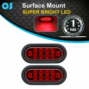 2x 10 Led 6 5 Oval Red Sealed Brake Stop Tail Back Lights 12v Truck Trailer Rv