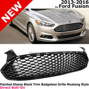 Mustang Style Front Grille For Ford Fusion 13 16 Honeycomb Black Trim Frame