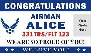 3ftx5ft Custom Personalized Congratulations Airman Air Force Bmt Banner W Photo