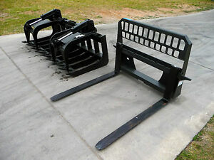 Bobcat Skid Steer Attachment 72 Hd Root Rake Grapple 48 Pallet Forks Ship 199