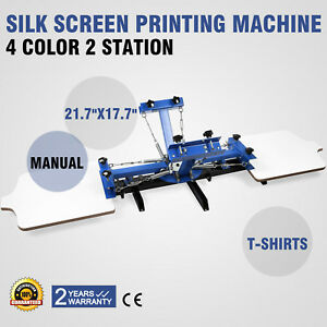4 Color 2 Station Silk Screen Printing Machine T shirt Pressing Glass