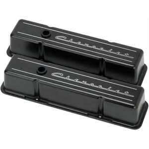 Billet Specialties Blk95223 Aluminum Valve Covers Chevy Small Block Black