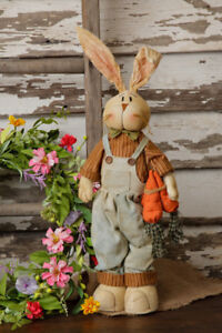 New Primitive Folk Art Country Bunny Rabbit Farmer Overall Easter Doll 23