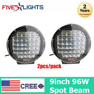 2x Cree Round 9in 96w Led Driving Spot Fog Work Light 4wd Offroad Black Suv Boat