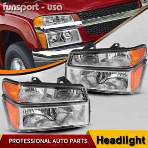 For 2004 2012 Chevy Colorado Pair Chrome Housing Amber Side Headlight lamp Set