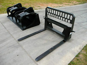 Bobcat Skid Steer Attachment 80 Hd Bucket Grapple W 48 Pallet Forks Ship 199