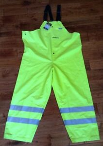 Nwt Pvc Bib Work Overalls Ansi isea Certified 107 2004 Reflective Material Xl