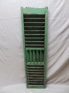 Single Antique Green Wood Louvered Shutters Shabby Vtg Chic Saloon 49x13 47 18p