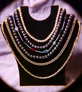 Black Necklace Jewelry Display Holds 6 Necklaces Chains Folding Stepped Jd007