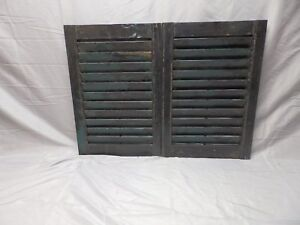 Pair Antique Wood Louvered Shutters House Window Shabby Vtg Chic 24x16 51 18p