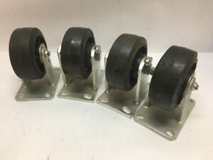 Caster Concepts Lot Of 4 Fixed Rubber Solid Wheel 6 X 2 5