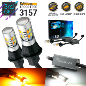 Error Free 3157 Led Switchback Drl Turn Signal Bulbs White Amber Wired Resistor