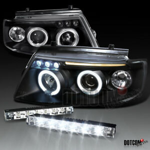 Black 1997 2000 For Passat B5 1 6 1 8 Led Halo Projector Headlights led Fog Drl