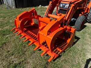 Kubota Skid Steer Attachment 84 Rock Bucket Grapple With Teeth Ship 149