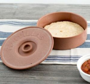 8 1 2 Tortilla Warmer Microwavable Round Brown Tabletop Server 12 Pack