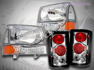 2000 2004 Ford Excursion Clear Headlights Corner Set Clear Tail Lights