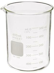 Pyrex Griffin 1000 600 Graduated Low Form 600ml Beaker With Double Scale 6 Pack