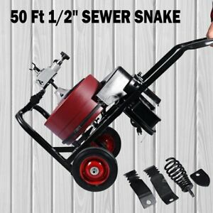 50 Ft Long Electric Drain Cleaner Auger Cable Clog Machine Sewer Snake Pipe Tub