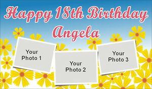 3ftx5ft Custom Personalized Happy Birthday Party Banner Sign With 3 Your Photos