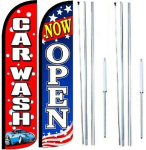 Car Wash Now Open Windless Flag With Hybrid Pole Set Pack Of 2