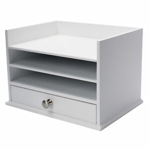 Designovation Francesca Desktop Organizer With 3 Letter Trays And Drawer White